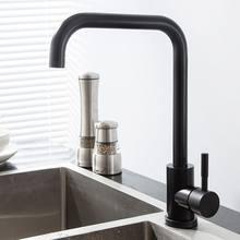 Torneira da cozinha 360 ° rotação misturador da cozinha casa aço inoxidável preto quente e frio fapully giratória