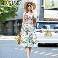 Женское платье без рукавов MIUXIMAO, повседневное элегантное платье до середины икры с V-образным вырезом и цветочным принтом, лето 2020
