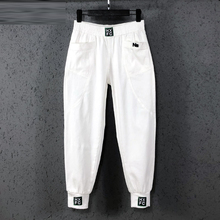 New Arrival Spring Summer Korea Fashion Women Elastic Waist Loose White Jeans All-matched Casual Cotton Denim Harem Pants S982 cheap F JE Ankle-Length Pants CN(Origin) Ages 18-35 Years Old Softener HIGH Pockets Light M L XL XXL XXXL