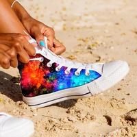 FORUDESIGNS Galaxy Space Star Printed High Top Women Vulcanized Shoes Flats Women's High top Canvas Shoes Female Zapatos Mujer