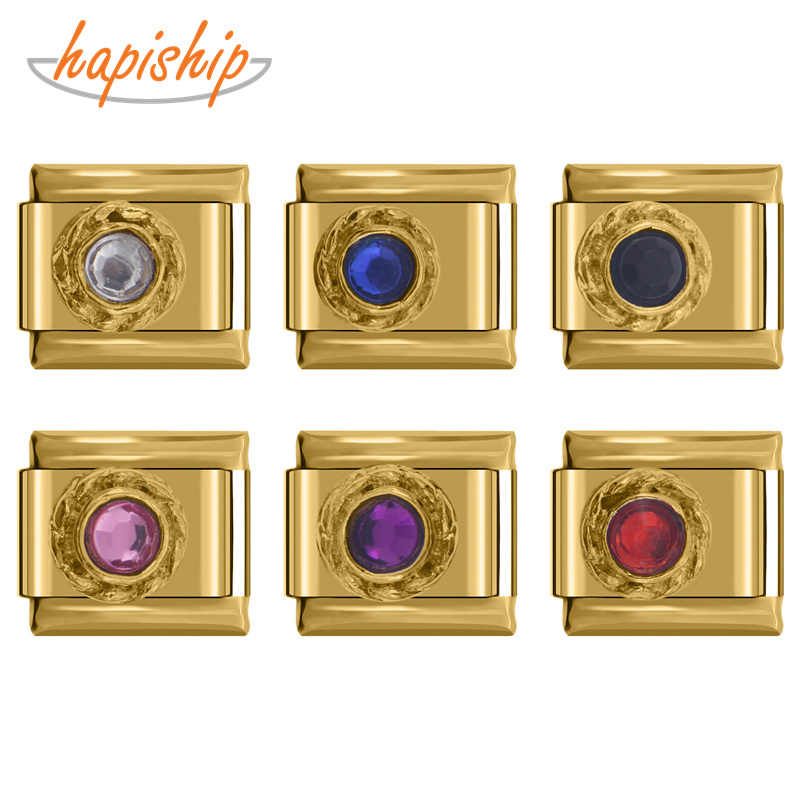 Hapiship 2018 TOP 1Pcs 9 Mm Lebar Asli Daisy 7 Warna High-End Bahasa Italia Pesona Fit Gelang Stainless perhiasan Baja Membuat DJ071