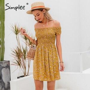 Image 4 - Simplee elegancka sukienka z odkrytymi ramionami dla kobiet mini sukienka w stylu Boho w kwiaty z nadrukiem kobieca sukienka z linii wiosna letnie wakacje plażowe sukienki damskie