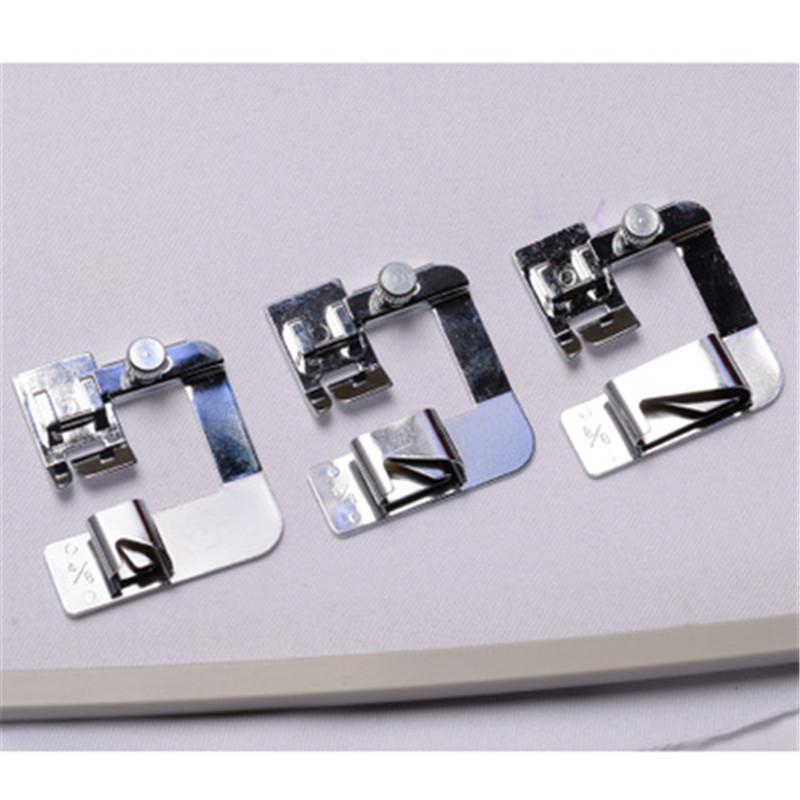 1xDomestic Sewing Machine Foot Presser Rolled Hem Feet Selvage Crimping Presser Household Sewing Machine Accessories Practical