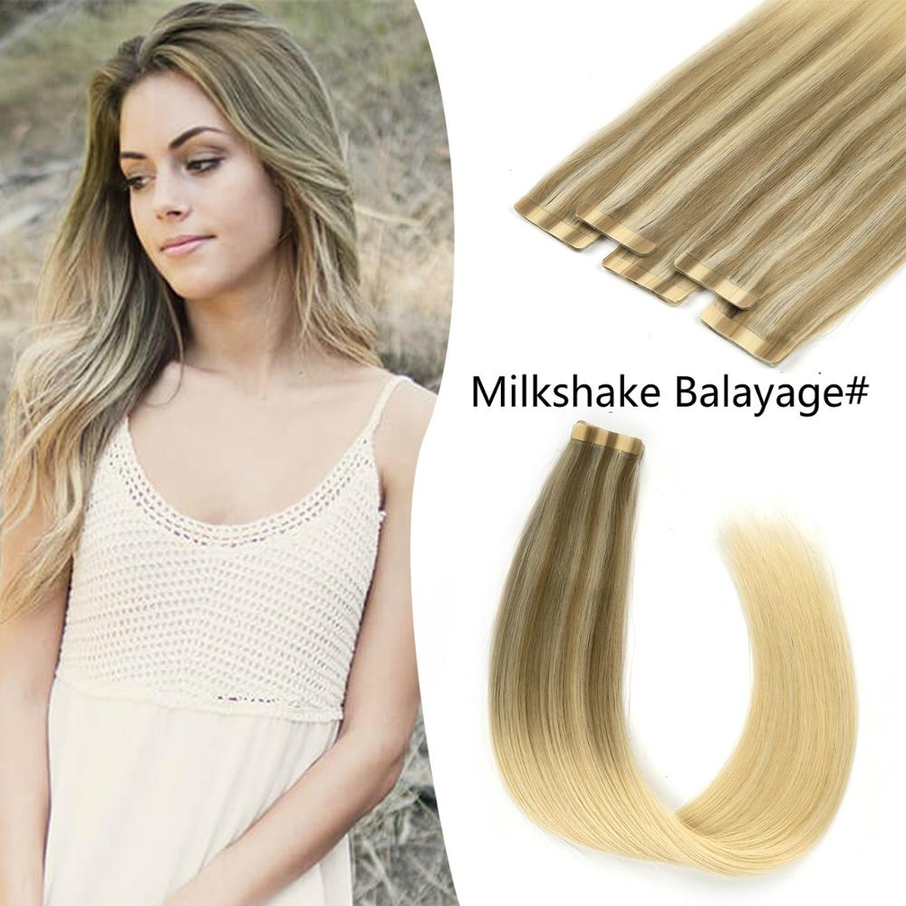 K.S WIGS 100% Remy Human Hair Invisible Tape On Skin Weft Human Hair Milkshake Balayage Color 20 Inch 2.5g/pc