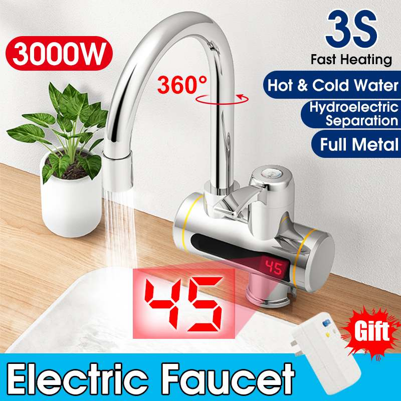 Tankless Electric Faucet Instant Heating Water Tap Water Heaters Hot/ Cold Mode Bathroom Kitchen Faucet With Temperature Display