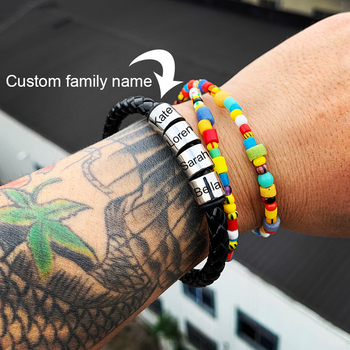 Customize family name bracelet Personalized Stainless Steel beads Charm Bracelets Leather Rope Men Bracelet Custom jewelry gift personalized custom names men braided rope genuine leather magnetic buckle bracelet with stainless steel beads husband gift