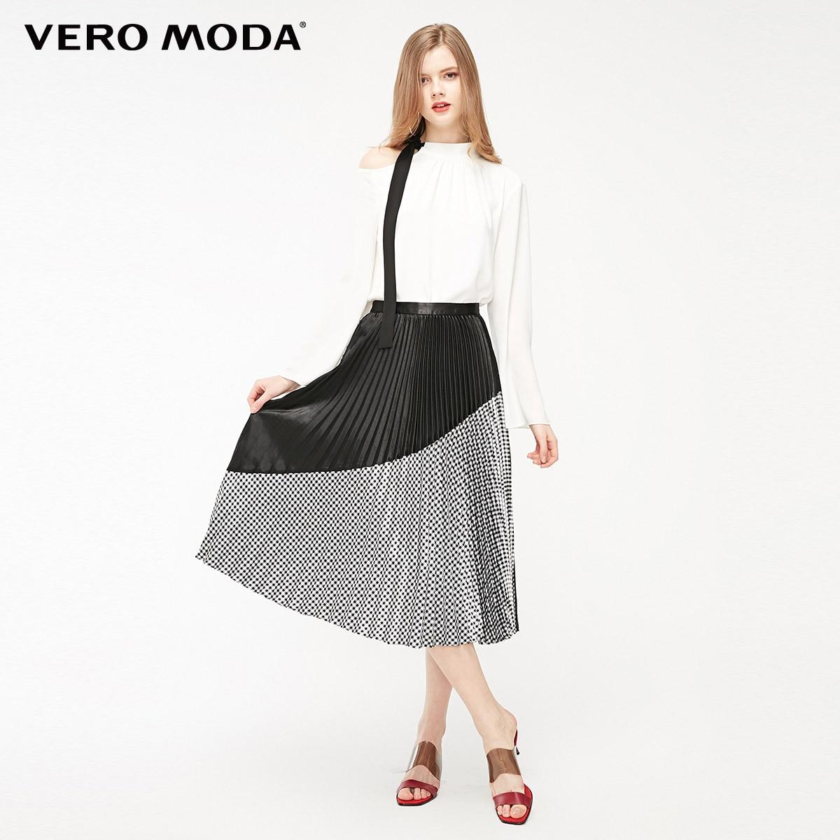 Vero Moda Women's Plaid Splice Plated Mid-length Skirt   319116530