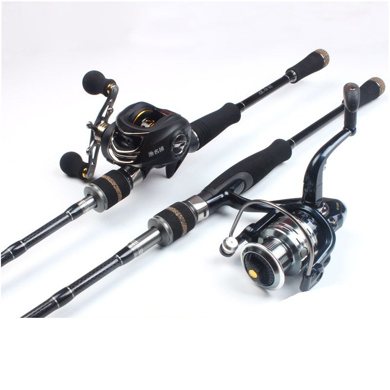 Carbon Fiber Fishing Rod Combo And Reel Full Kit Casting Spinning Fishing Reel Gear Pole Set 100M Fishing Line Lures Hooks Pesca