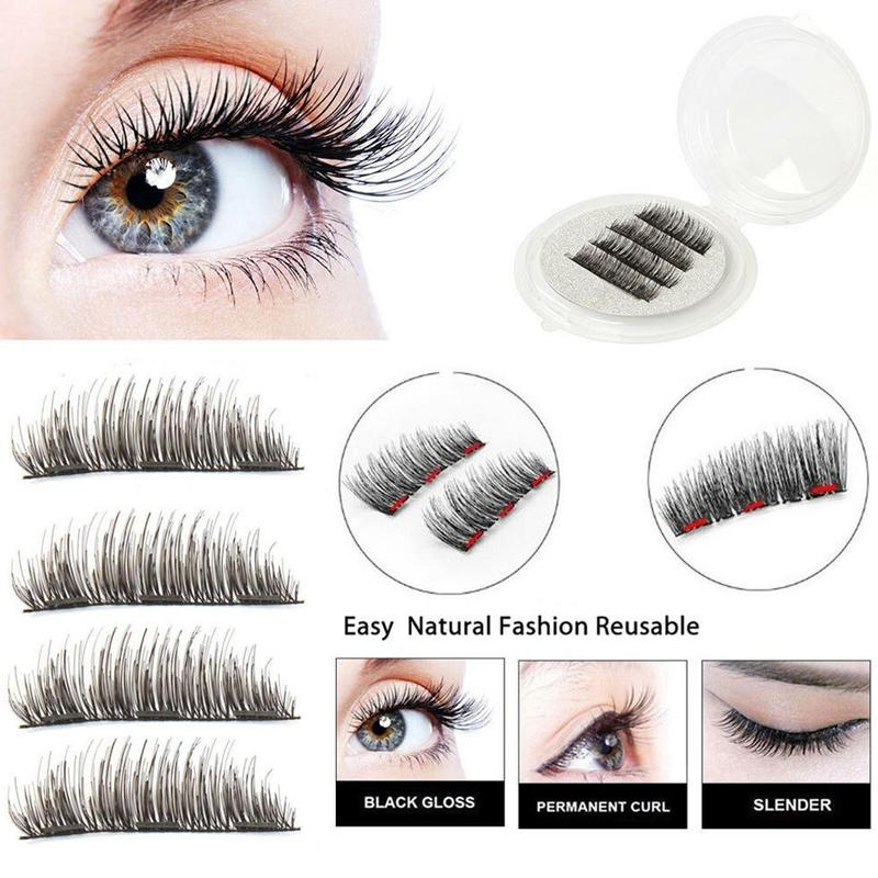 <font><b>Magnetic</b></font> <font><b>Eyelashes</b></font> <font><b>With</b></font> <font><b>4</b></font> <font><b>Magnets</b></font> 3D False <font><b>Eyelash</b></font> <font><b>Magnet</b></font> Lashes Applicator Natural <font><b>Eyelashes</b></font> Extension Tweezer <font><b>Eyelash</b></font> Curler image