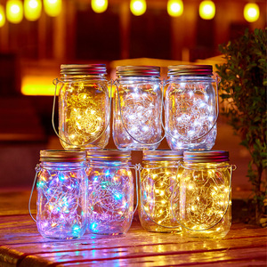20 Led Solar Cap Light Mason Jar Lights with Handle String Fairy Christmas Firefly Lights Lid for Patio Lawn Garden Decor No jar(China)