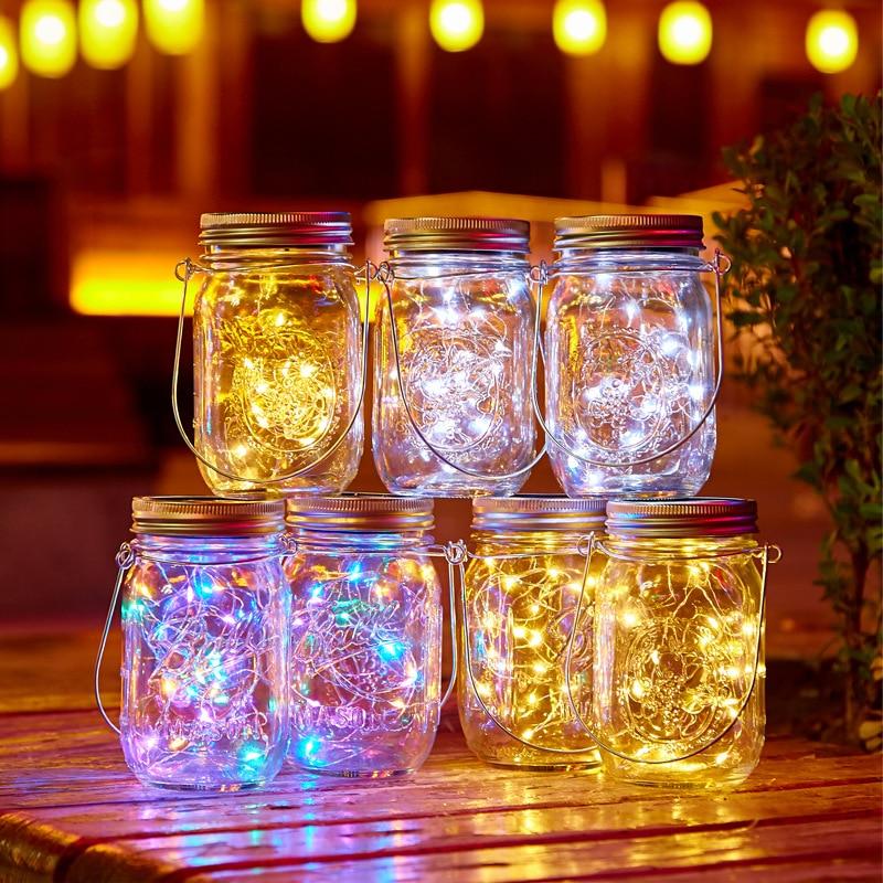 20 Led Solar Cap Light Mason Jar Lights With Handles String Fairy Firefly Lights Lids Insert For Patio Lawn Garden Decor No Jars