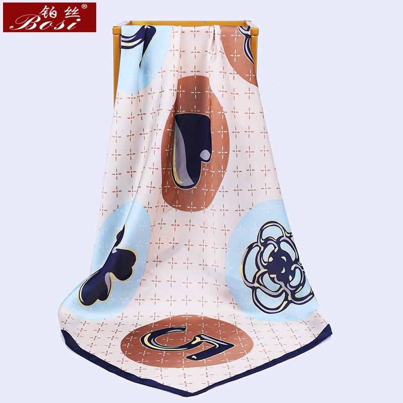 BOSI 2020 Silk Scarf Fashion Women Satin Shawl Print Head Hijab Scarfs Summer Size 70*70cm Square Head Scarves Female Bandana