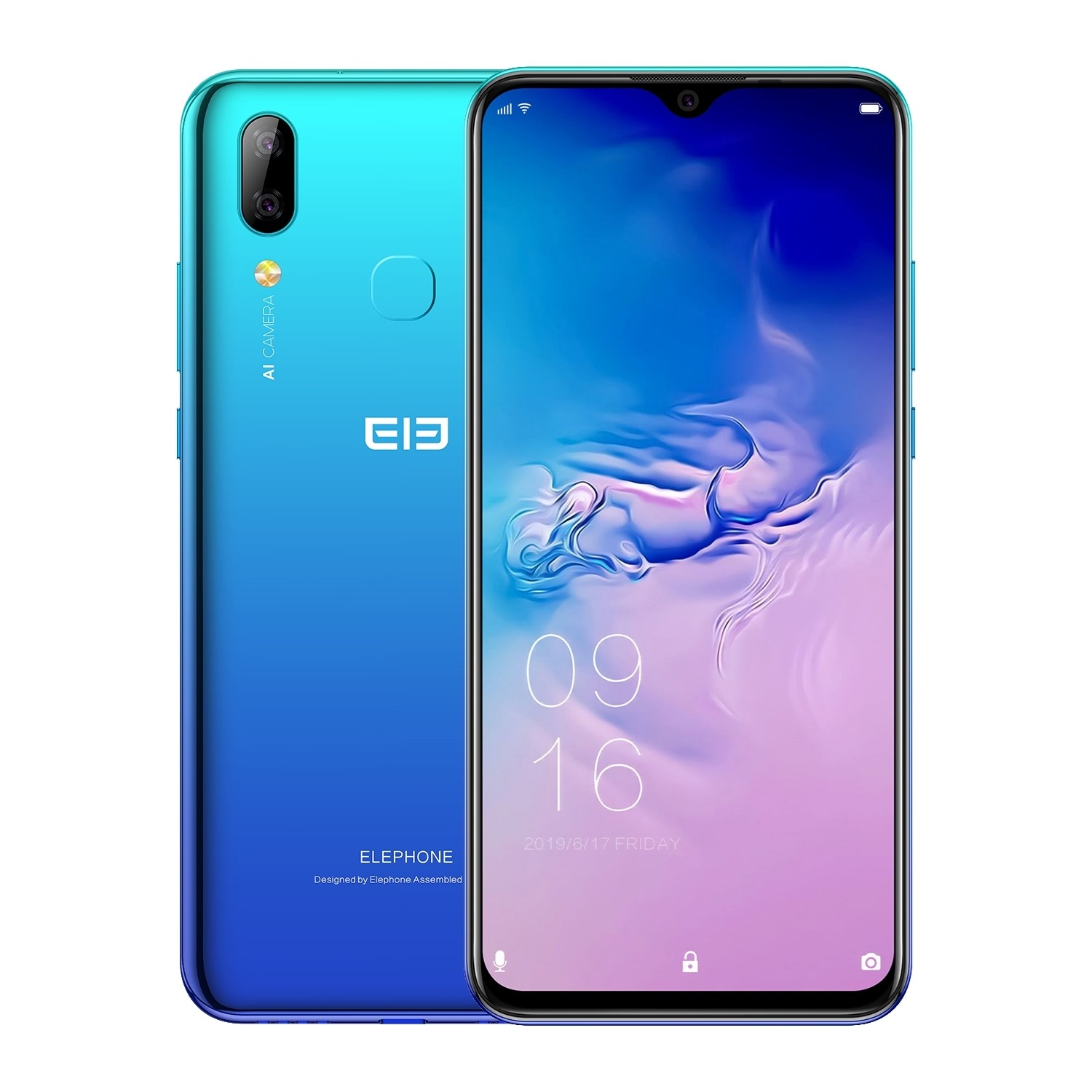 Elephone A6 Max 4G Smartphone 6.53 Inch Android 9.0 4GB RAM 64GB ROM MT6762V Quad Core 20MP Cameras OTG NFC Mobile Phone