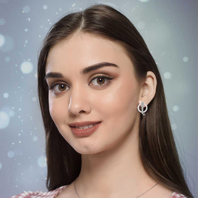 Luxury Shinny Bling CZ U Shape STUD ต่างหูแหวนแฟชั่น Rhinestone แหวนต่างหูชุดเครื่องประดับงานแต่งงานของขวัญ