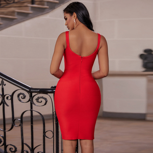 Image 4 - Ocstrade Red Bandage Dress 2019 New Arrivals Autumn Winter Midi Bandage Dress Sexy Spaghetti Strap Bodycon Club Party Dress