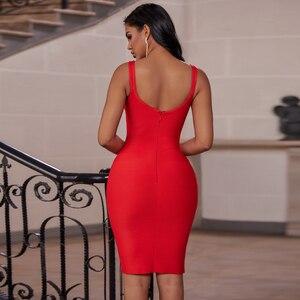 Image 4 - Ocstrade vermelho bandage vestido 2019 recém chegados outono inverno midi bandagem vestido sexy cinta de espaguete bodycon clube vestido de festa