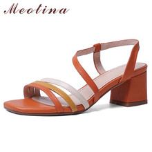 Meotina Women Shoes Narrow Band High Heel Sandals Square Toe Block Heels Ladies Footwear Summer Sandals Orange Blue Big Size 43