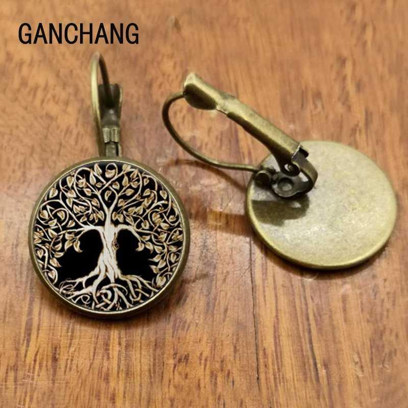 Hayat ağacı saplama küpe salkımsöğüt kulak tırnak hayat ağacı takı cam kubbe küpe kadınlar için