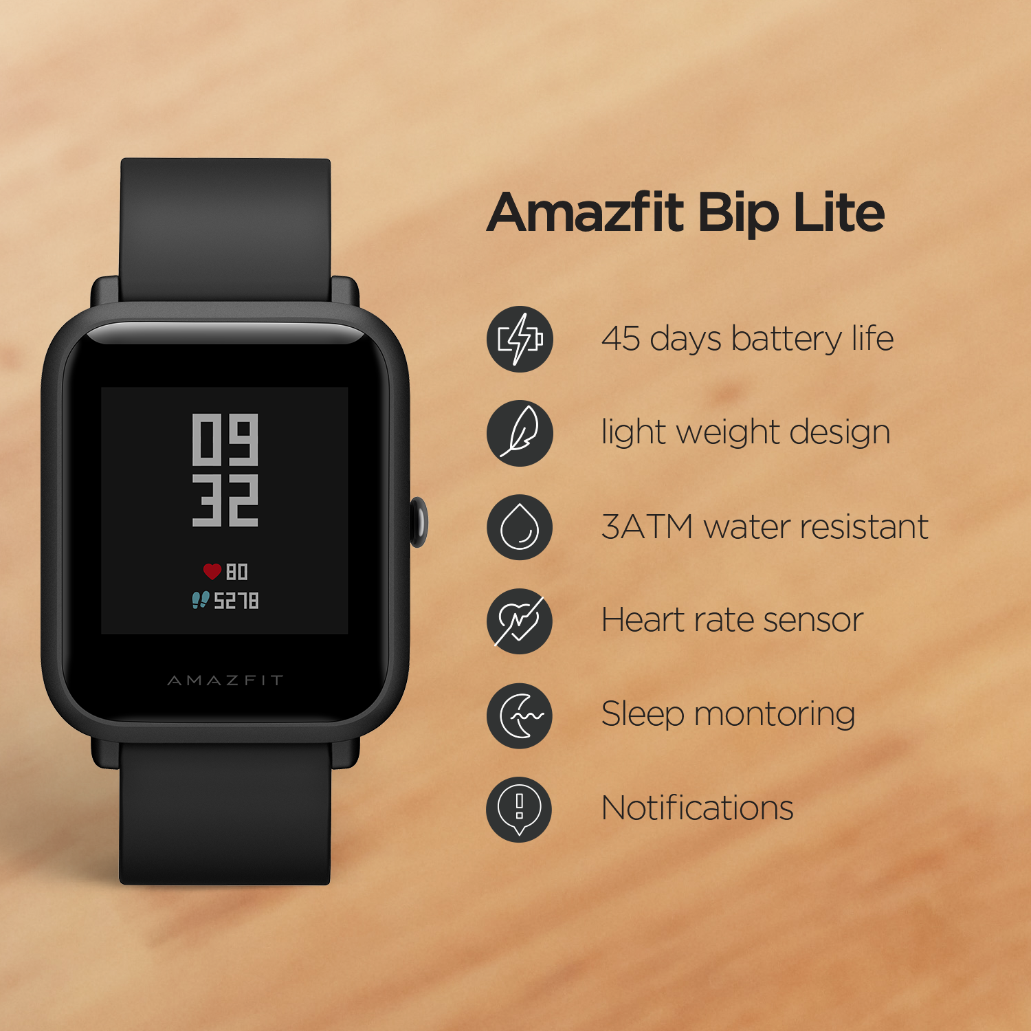 Image 3 - In Stock Global Version Amazfit Bip Lite Smart Watch 45 Day Battery Life 3ATM Water resistance Smartwatch For Xiaomi New 2019-in Smart Watches from Consumer Electronics