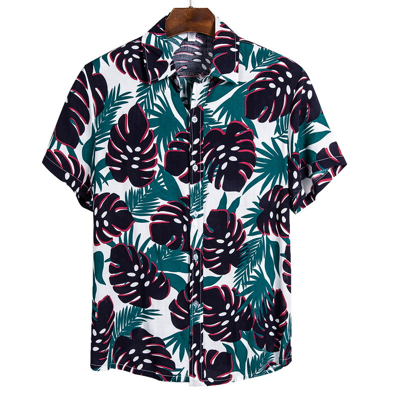 2021 New Arrival Men's Shirts Men Hawaiian Camicias Casual One Button Wild Shirts Printed Short-sleeve Blouses Tops 4