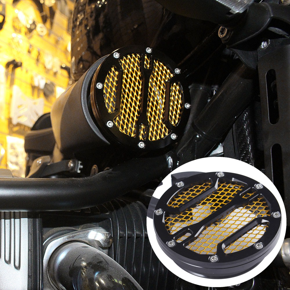 For BMW R Nine T R9T 2013 14 2015 2016 2017 <font><b>2018</b></font> Air Intake Cover <font><b>CNC</b></font> Air intake Filter Black Gold RNineT Motorcycle Accessories image