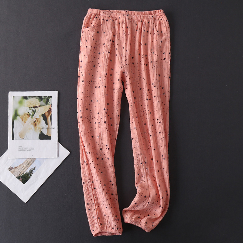 Women's Cotton Water-washed pajamas for women Pyjamas Sleepwear Pijamas Texture Crepe Gauze Long-sleeved Trousers Pajamas V-Neck 34
