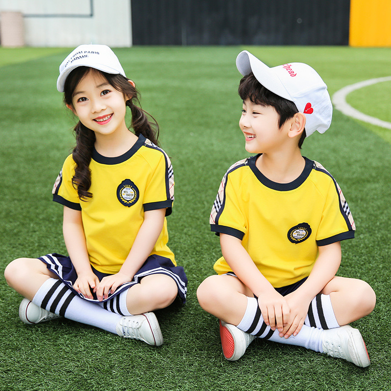 Kindergarten Suit Summer Wear Children School Uniform Set Young STUDENT'S Business Attire Summer British-Style Short Sleeve Teac