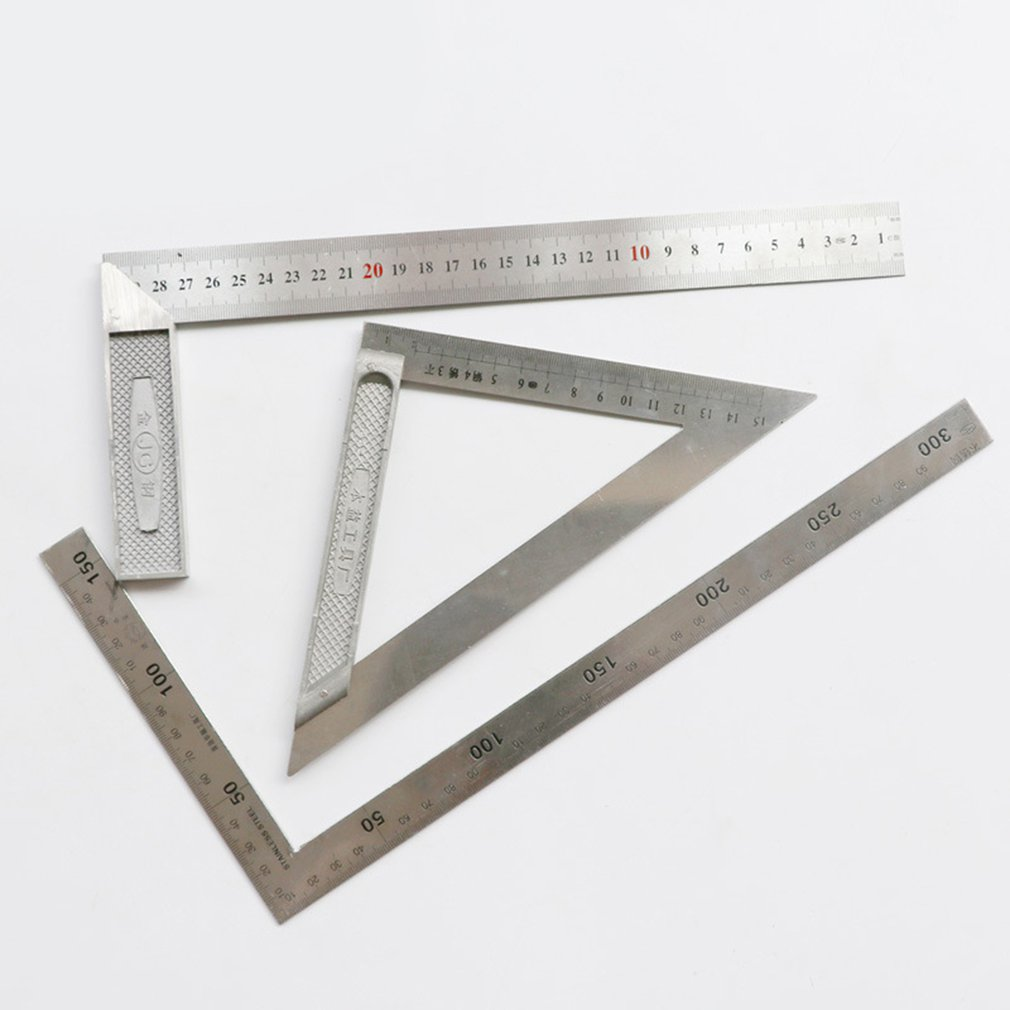 150mm/200mm Triangle Ruler 90 Degree Stainless Steel Triangular Ruller Professional Woodworking Measuring Tool Protractors