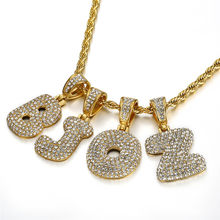 Crystal Zircon 26 Alphabet Pendant Necklaces For Women Men Initial Letter Necklace Hip Hop Gold Chain Jewelry Collier Bijoux(China)