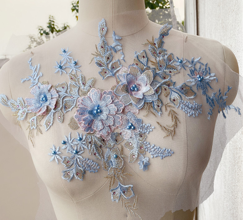 Nine-color 3D three-dimensional beaded flower clothing evening dress skirt accessories handmade DIY jewelry veil decoration