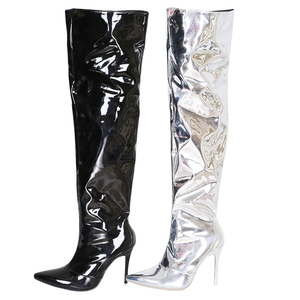 Image 5 - Sexy Silver Mirror Thigh High Boots Women T Show Pointy Toe Club Party Shoes Thin High Heels Over The Knee Long Boots For Women
