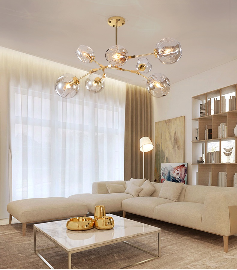 Branch glass chandelier transparent color / smoke gray / amber / cognac color / plating gray / glass hanging <font><b>lights</b></font> AC110-240V image