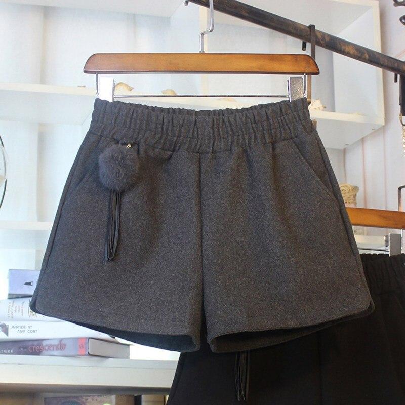Simple Women Casual Shorts Body Workout Autumn Winter Warm Hairy Shorts Female Loose Wide Leg Egde Hot Short