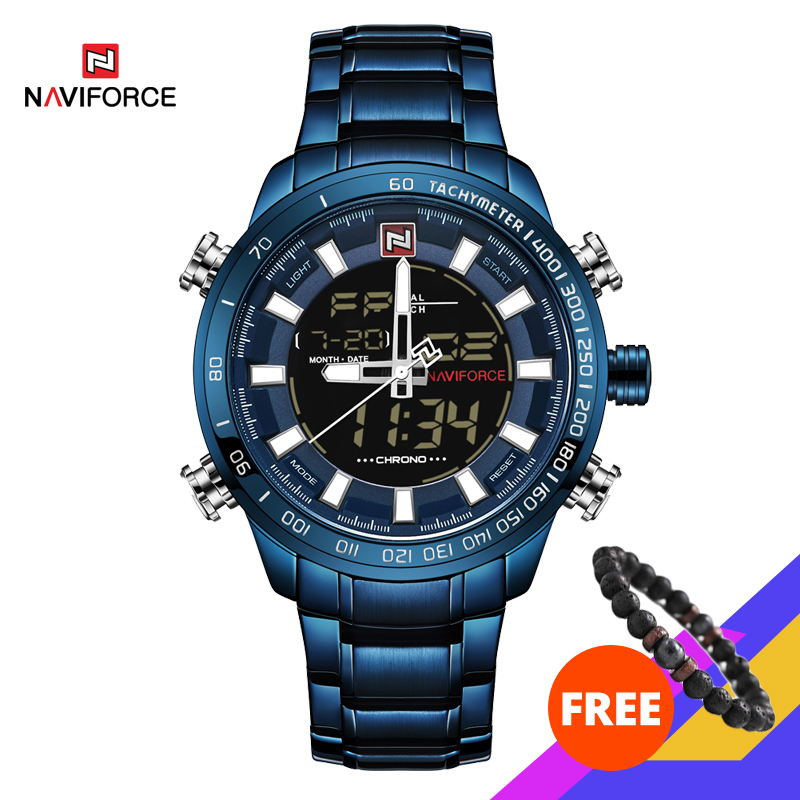 NAVIFORCE Watches Men Full Steel Quartz Digital Clock Waterproof Watch Men's Fashion Blue Watch Relogio Masculino Dropshipping