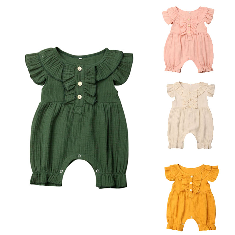 0-24M Toddler Kids Baby Girl Solid Cotton   Romper   Jumpsuit Newborn Infant Girls Palysuit Flysleeve Overall Sunsuit Outfit Clothes