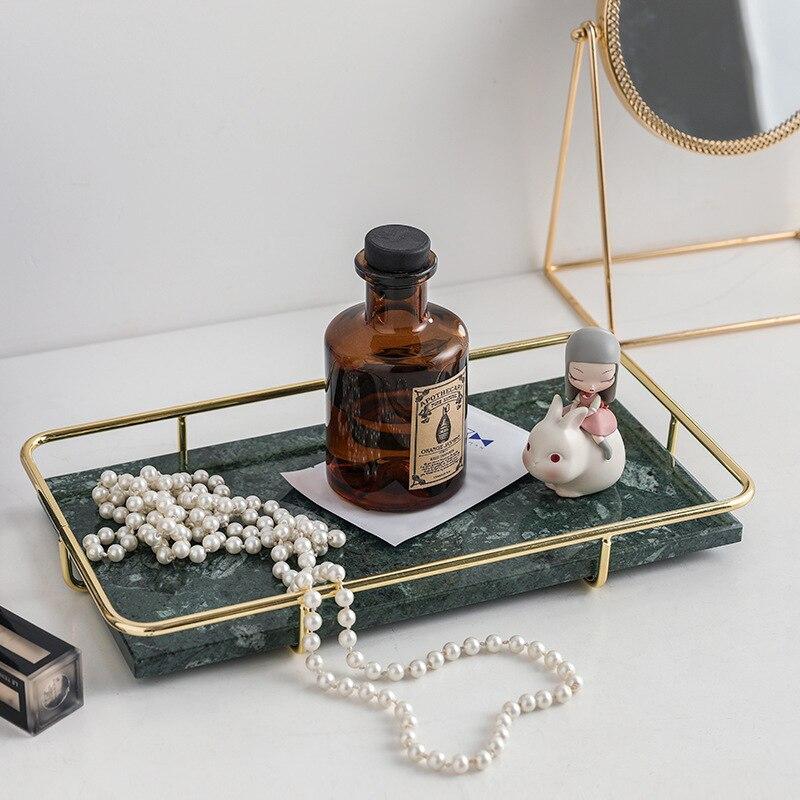 Nouveau nordique lumière luxe tige en métal marbre plateau de rangement hôtel ménage salle de bain chambre cosmétiques rectangulaire plateau décoration artisanat