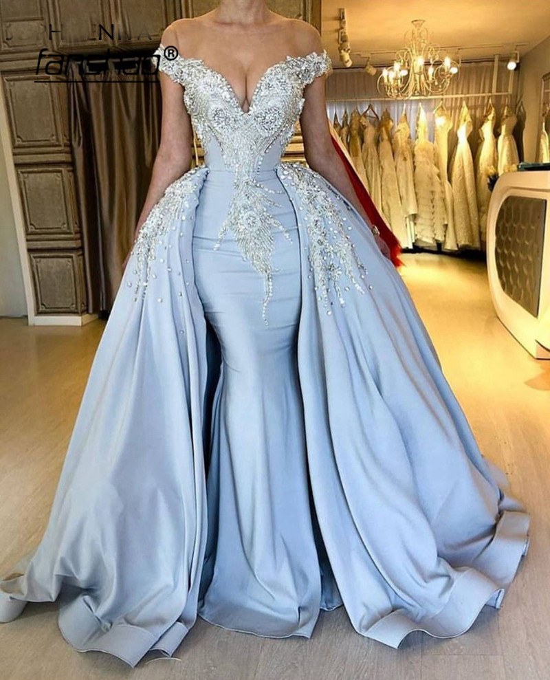 Off The Shoulder Evening Dress Sky Blue Detachable Train Lace Robe De Soiree Dubai Saudi Arabic Evening Gown Prom Dress Vestidos