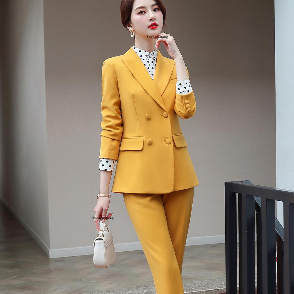 Women's Clothing Solid Color Trouser For Women Jacket Pants Suit Office Business Ladies Suits Blazer Set Women Suits