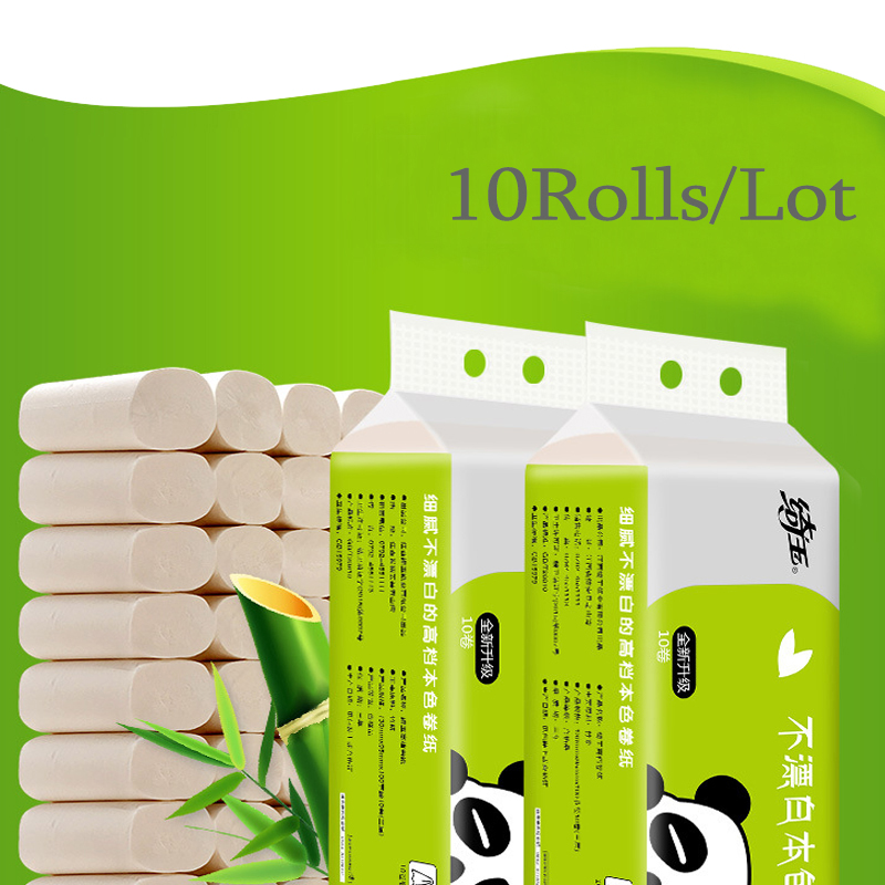 10 Rolls Good Quality Practical 4 Layers Tissue Roll Home Bath Wood Pulp Toilet Roll Paper