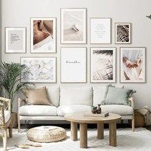 Arte da parede Da Lona Pintura de Paisagem de Areia Mulher Folhas Praia Conchas Nórdico Cartazes E Impressões Parede Pictures For Living Room Decor