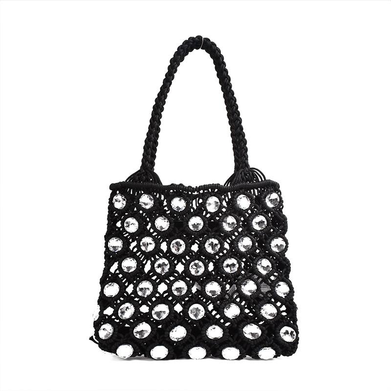 ZA Hand-sewn Holiday Fashion Woven Diamond Handbags Mini Bucket Bag With Rhinestones Wedding Purse Chic Bag