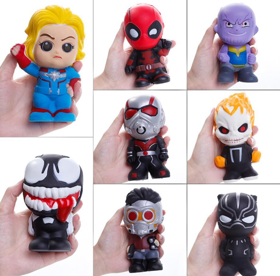 Cute Squishy Slow Rising Toys Marvel Figure Squishy Heroes Captain Hulk Ant-man Iron Man Squeeze Antistress Soft Kids Toys