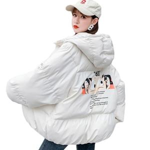 Женская зимняя куртка, мультяшная парка, пальто, женская короткая теплая куртка с капюшоном, повседневная куртка, пальто большого размера, Ж...