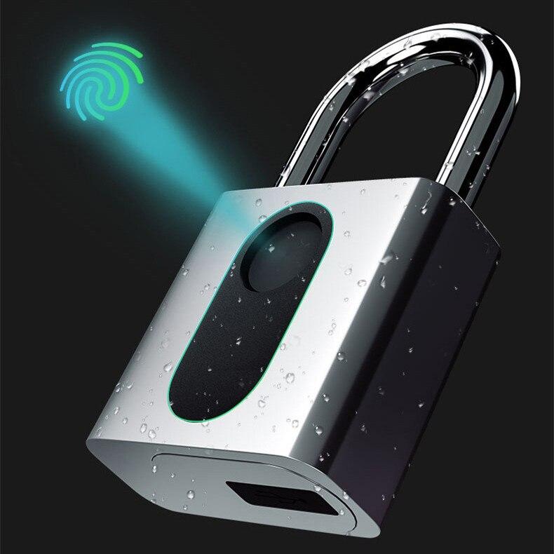 Fechadura inteligente sem chave da impressão digital fechadura ip65 impermeável cerradura inteligente anti-roubo segurança cadeado porta bagagem caso bloqueio