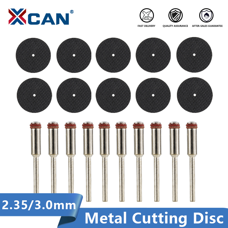 XCAN 20pcs 2.35mm/3.0mm Shank Resin Fiber Cutting Disc Metal Cutting Mini Saw Blade Rotary Tools Accessorie Kit Cutter-off Wheel