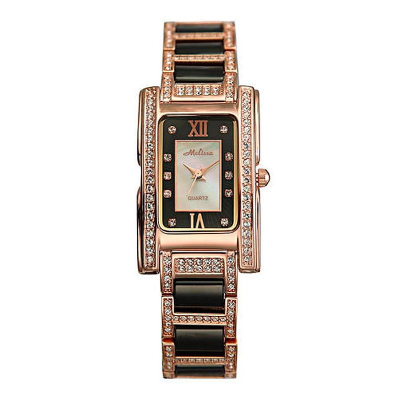 Luxury Lady Women's Watch Ceramic Elegant Rhinestone Fashion Fine Hours Dress Bracelet Crystal Girl's Birthday Gift Melissa Box