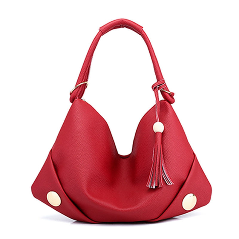 Fashion Handbag Wooden Tote-Bag Tassel-Shoulder-Bag Soft Casual Women PU Beads Mature