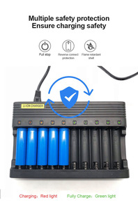 Image 5 - PUJIMAX10 slots carregador de bateria 18650 ue inteligente de carregamento 26650 21700 14500 26500 22650 26700 li ion recarregável carregador de bateria