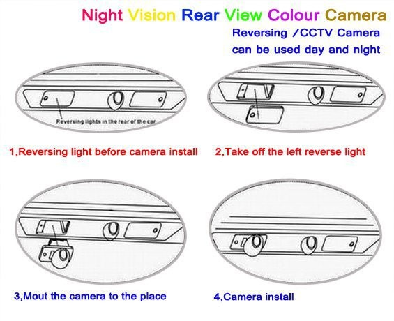 Car Rear View Back Up Reverse Parking Camera HD CCD Night Vision+high quality CCD 6