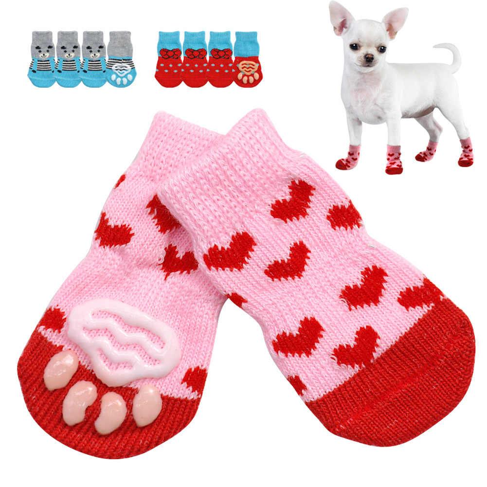 4 stücke Winter Haustier hund socken Anti-Slip Stricken Socken Kleine Hunde Schuhe Dicke Warme Pfote Protector Hund Socken calcetines perro pet socken